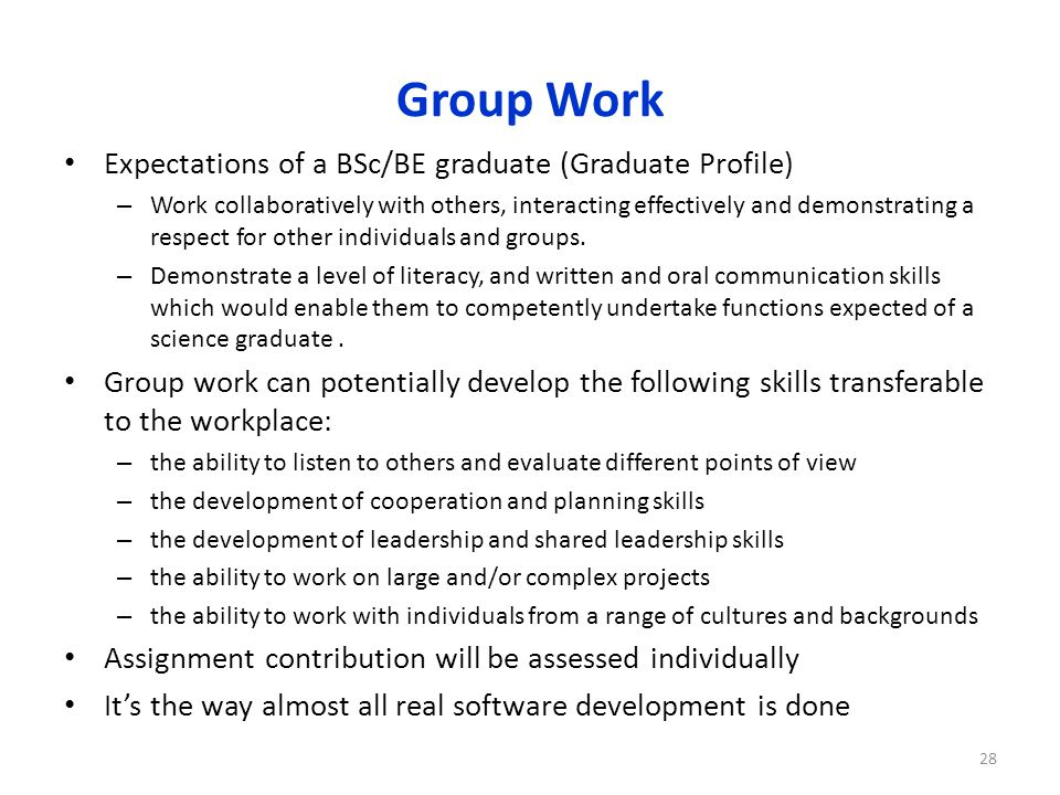 Group Work Expectations of a BSc/BE graduate (Graduate Profile) – Work collaboratively with others, interacting effectively and demonstrating a respect for other individuals and groups.