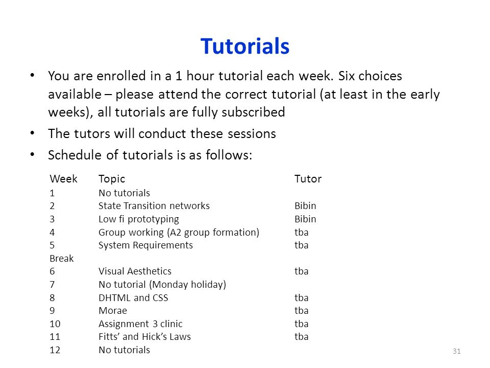 Tutorials You are enrolled in a 1 hour tutorial each week.