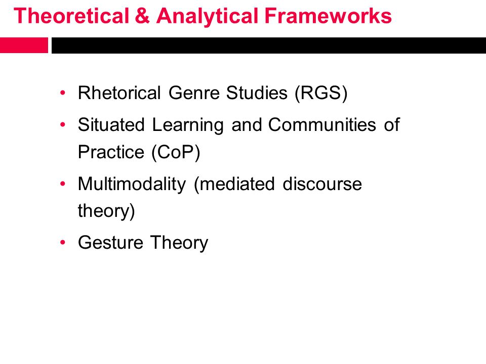 Theoretical & Analytical Frameworks Rhetorical Genre Studies (RGS) Situated Learning and Communities of Practice (CoP) Multimodality (mediated discourse theory) Gesture Theory