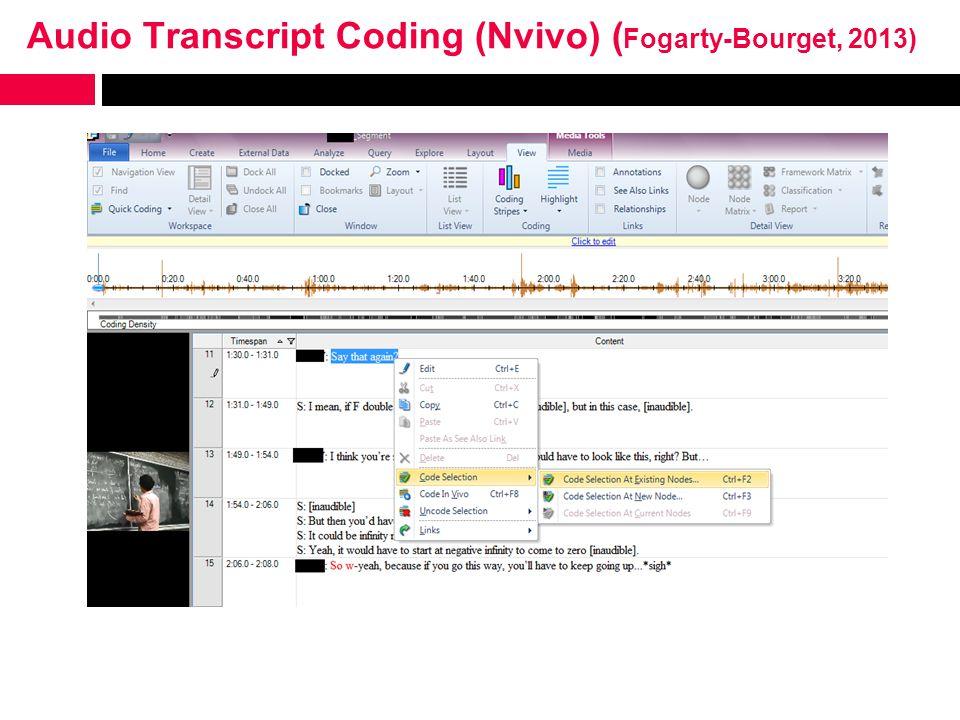 Audio Transcript Coding (Nvivo) ( Fogarty-Bourget, 2013)
