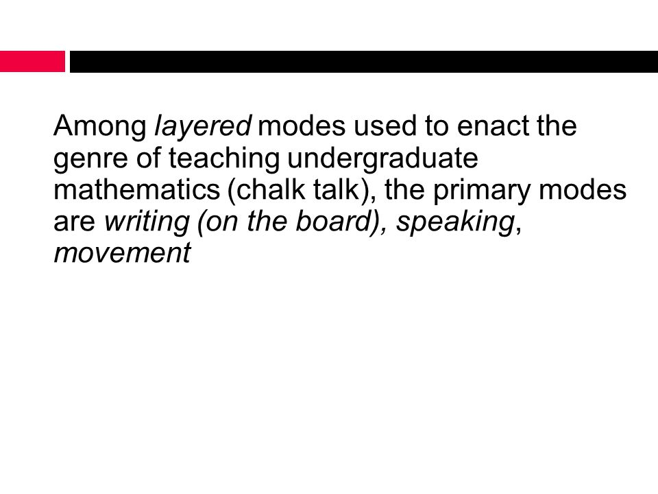 Among layered modes used to enact the genre of teaching undergraduate mathematics (chalk talk), the primary modes are writing (on the board), speaking, movement