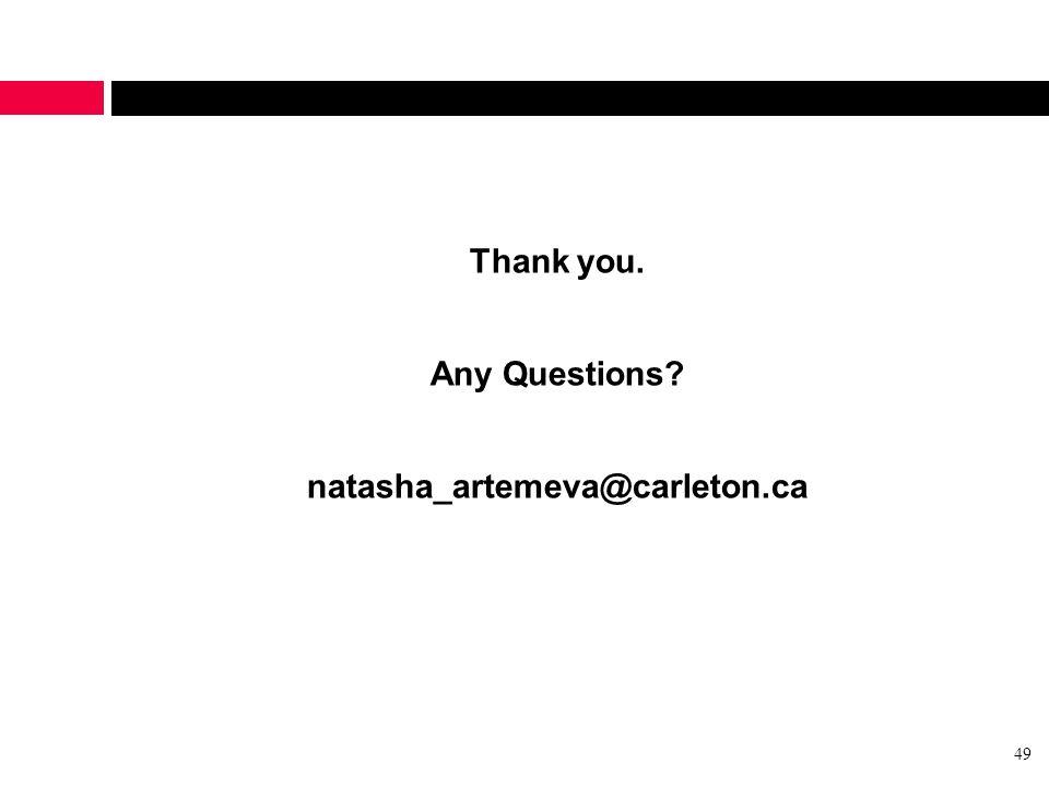 Thank you. Any Questions natasha_artemeva@carleton.ca 49