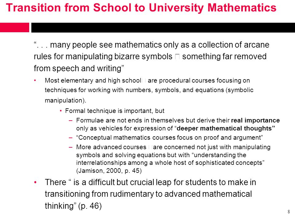 Transition from School to University Mathematics ...