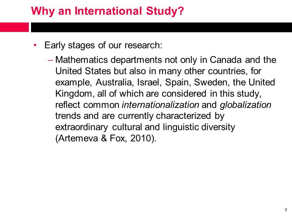 Why an International Study.