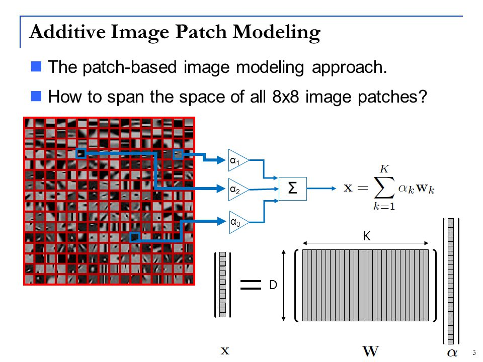 4 Two Modeling Goals Image reconstruction Use dictionary to build image prior Tasks: Compression, denoising, deblurring, inpainting,… Image interpretation Use dictionary for feature extraction Tasks: Classification, recognition,…