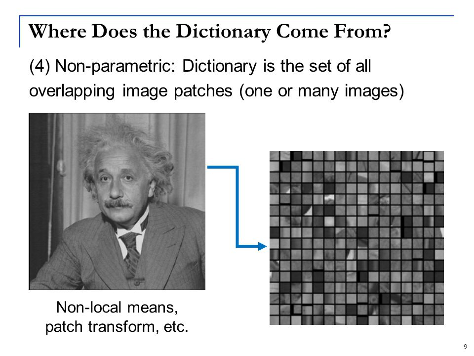 30 Image Patch Dictionaries in Visual Recognition Dictionary >10K words Classifier Patches SIFT SIFT-based Bag-of-Words classification pipeline