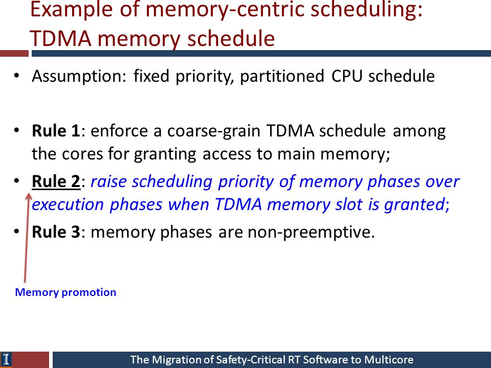 The Migration of Safety-Critical RT Software to Multicore Example of memory-centric scheduling: TDMA memory schedule Assumption: fixed priority, parti