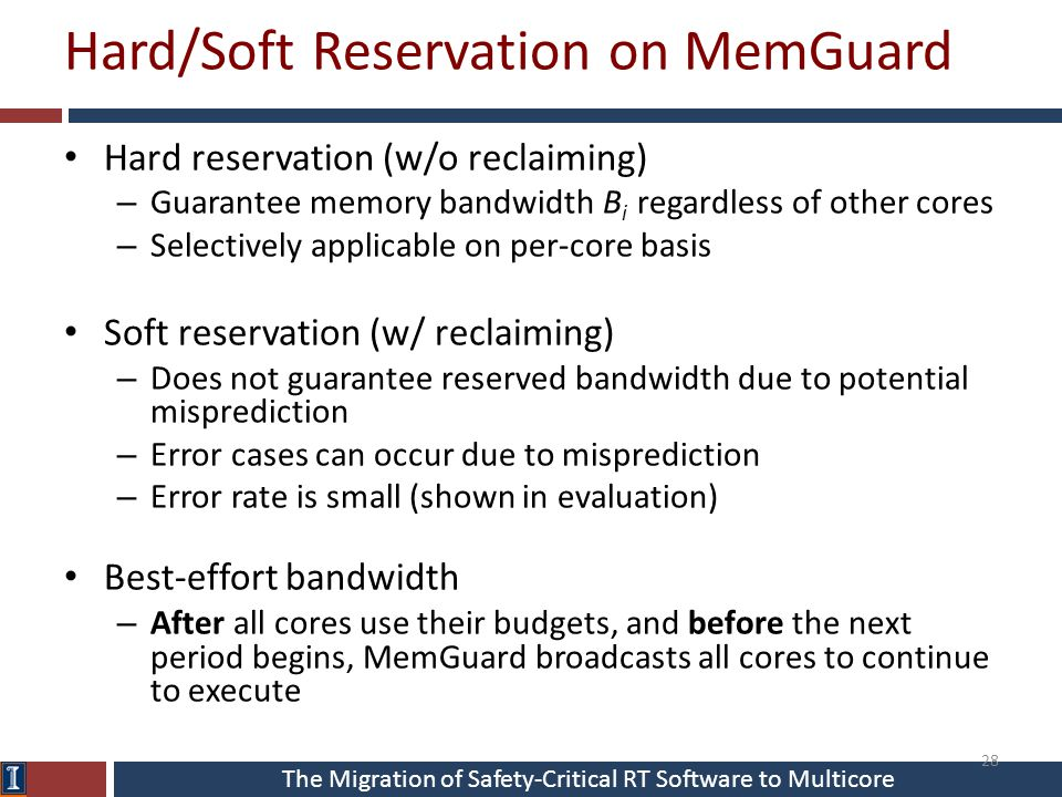 The Migration of Safety-Critical RT Software to Multicore Hard/Soft Reservation on MemGuard Hard reservation (w/o reclaiming) – Guarantee memory bandw