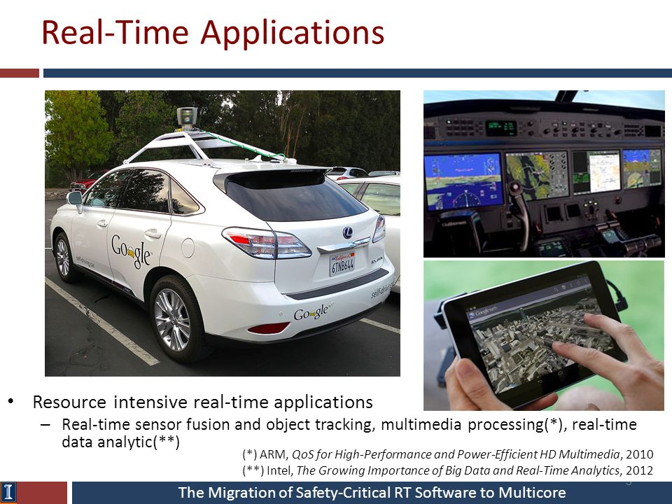 The Migration of Safety-Critical RT Software to Multicore Real-Time Applications 3 Resource intensive real-time applications – Real-time sensor fusion and object tracking, multimedia processing(*), real-time data analytic(**) (*) ARM, QoS for High-Performance and Power-Efficient HD Multimedia, 2010 (**) Intel, The Growing Importance of Big Data and Real-Time Analytics, 2012