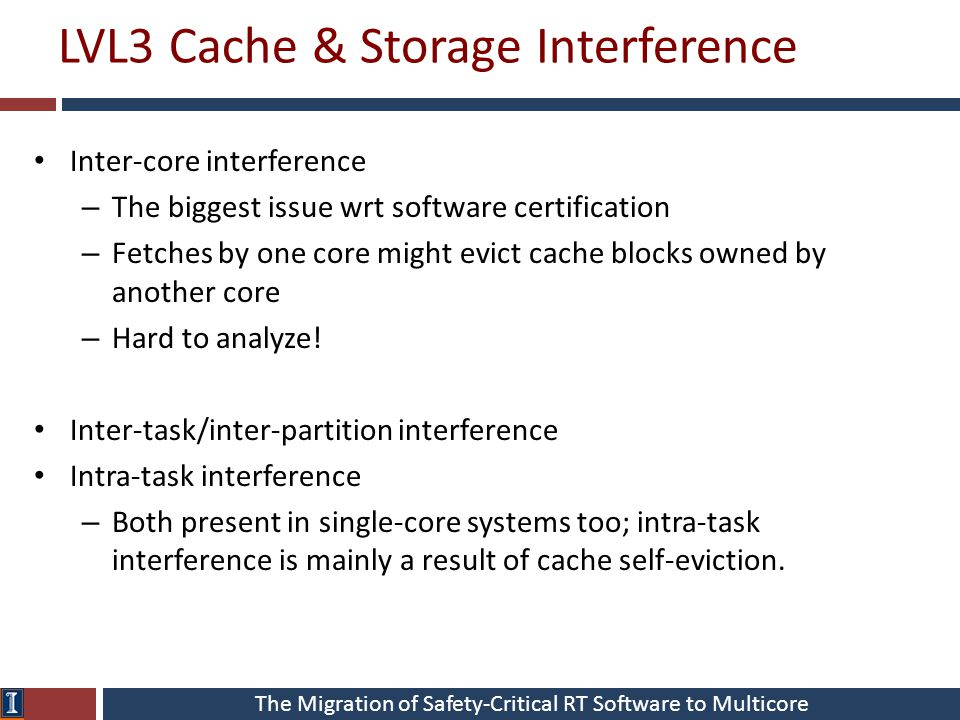 The Migration of Safety-Critical RT Software to Multicore LVL3 Cache & Storage Interference Inter-core interference – The biggest issue wrt software c