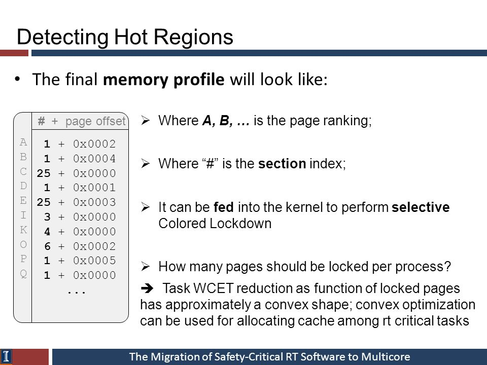 The Migration of Safety-Critical RT Software to Multicore The final memory profile will look like: Detecting Hot Regions # + page offset 1 + 0x0002 1