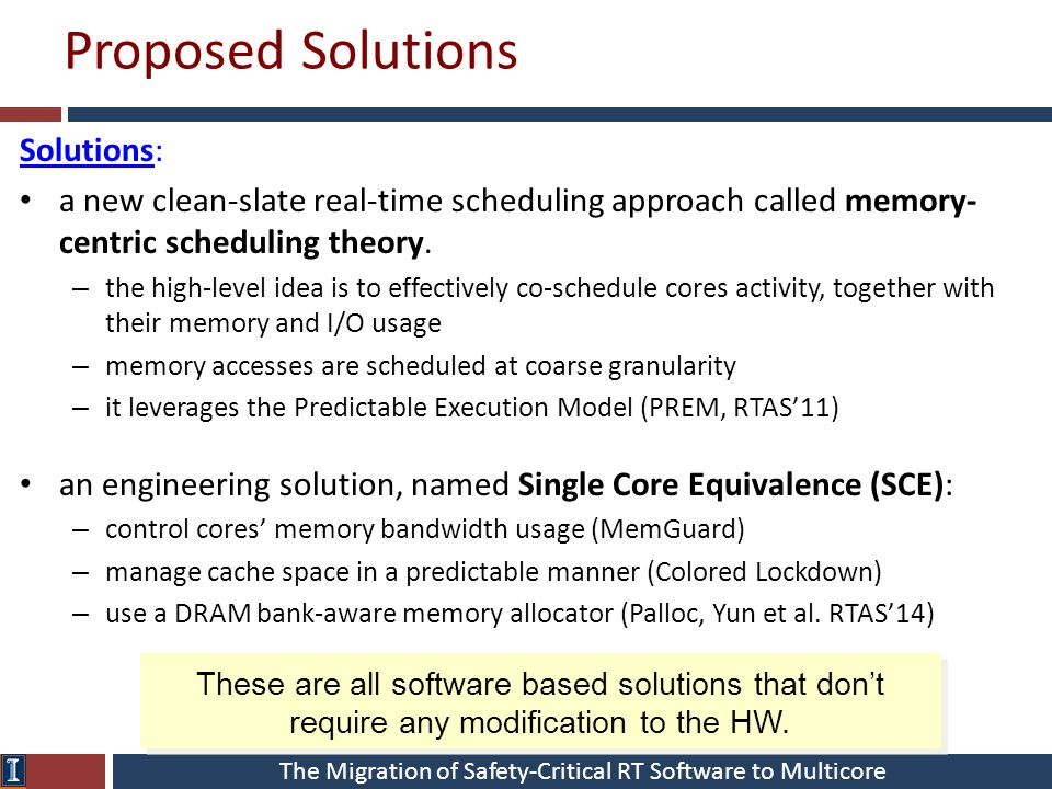 The Migration of Safety-Critical RT Software to Multicore Proposed Solutions Solutions: a new clean-slate real-time scheduling approach called memory- centric scheduling theory.