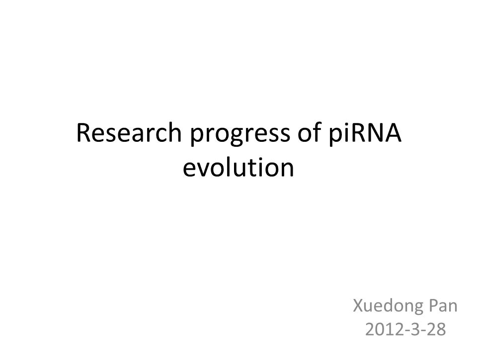 Research progress of piRNA evolution Xuedong Pan 2012-3-28