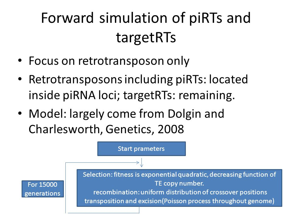 Forward simulation of piRTs and targetRTs Focus on retrotransposon only Retrotransposons including piRTs: located inside piRNA loci; targetRTs: remaining.