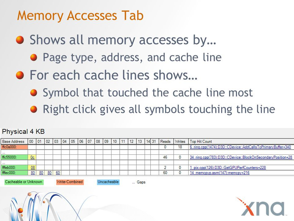 Memory Accesses Tab Shows all memory accesses by… Page type, address, and cache line For each cache lines shows… Symbol that touched the cache line most Right click gives all symbols touching the line