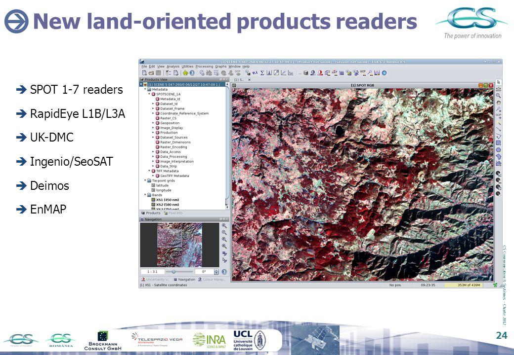 CS Communication & Systèmes – Charte 2012 24 New land-oriented products readers  SPOT 1-7 readers  RapidEye L1B/L3A  UK-DMC  Ingenio/SeoSAT  Deim