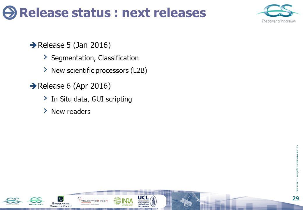 CS Communication & Systèmes – Charte 2012 29 Release status : next releases  Release 5 (Jan 2016) › Segmentation, Classification › New scientific pro