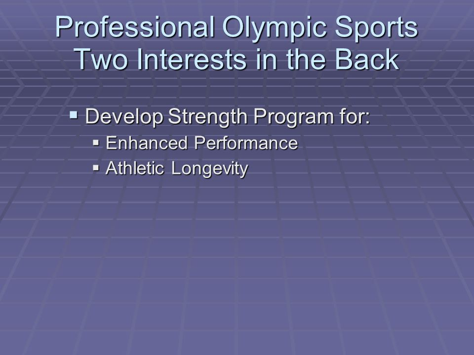 Professional Olympic Sports Two Interests in the Back  Develop Strength Program for:  Enhanced Performance  Athletic Longevity