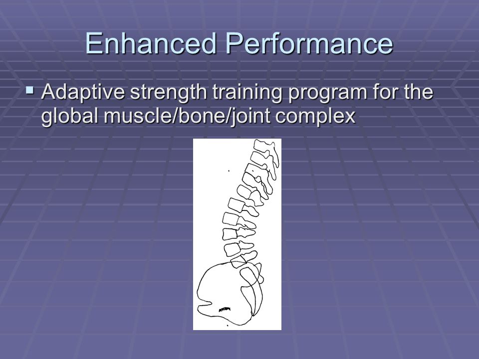 Enhanced Performance  Adaptive strength training program for the global muscle/bone/joint complex