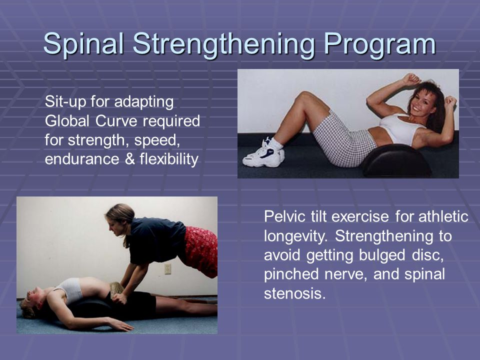 Sit-up for adapting Global Curve required for strength, speed, endurance & flexibility Spinal Strengthening Program Pelvic tilt exercise for athletic longevity.