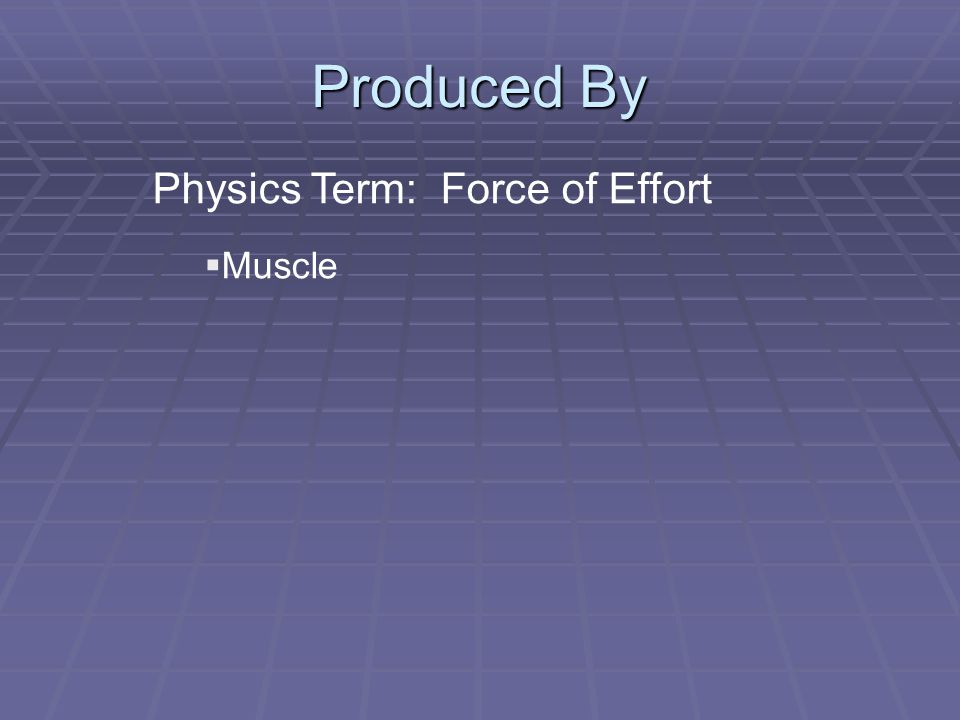 Produced By Physics Term: Force of Effort  Muscle