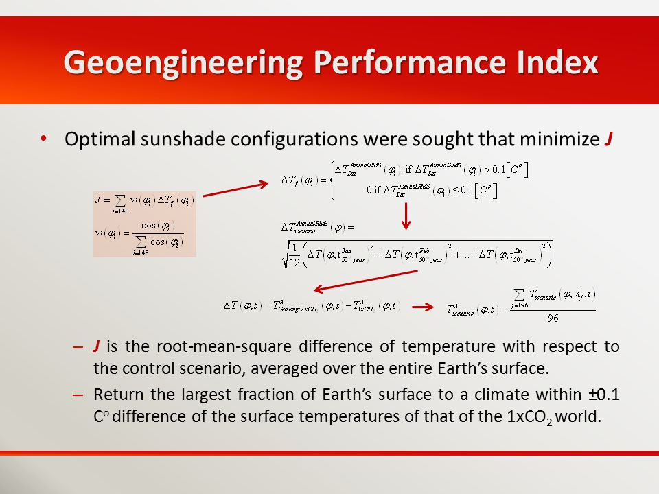 Geoengineering Performance Index Optimal sunshade configurations were sought that minimize J – J is the root-mean-square difference of temperature wit