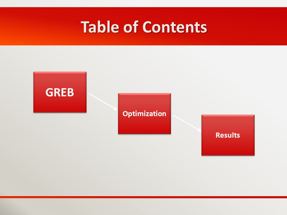 Table of Contents GREB Optimization Results