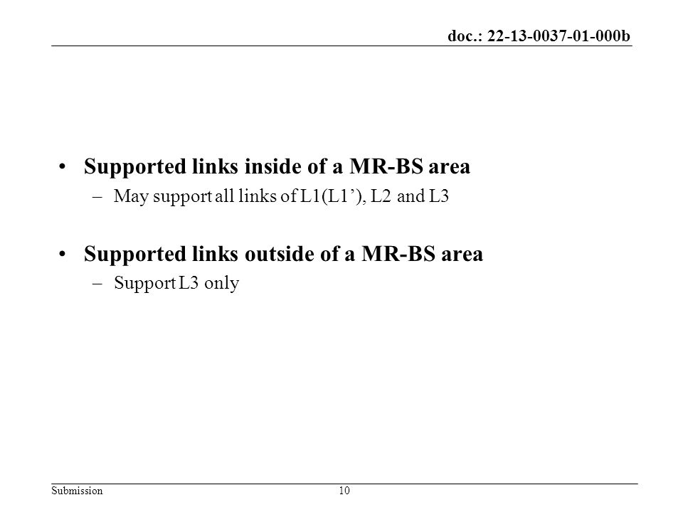 doc.: 22-13-0037-01-000b Submission Supported links inside of a MR-BS area –May support all links of L1(L1'), L2 and L3 Supported links outside of a MR-BS area –Support L3 only 10
