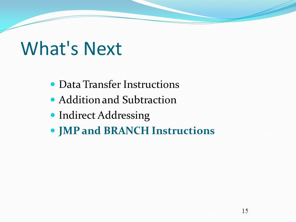 15 What's Next Data Transfer Instructions Addition and Subtraction Indirect Addressing JMP and BRANCH Instructions