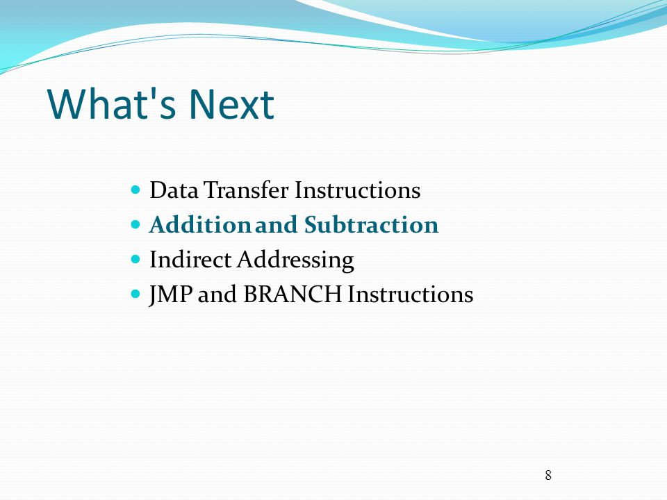 9 ADD and SUB Instructions add or addu Rd, Rs, Rt Logic: destination  source Rs + source Rt sub or subu Rd, Rs, Rt Logic: destination  source Rs – source Rt addi or addiu Rd, Rs, Imm Logic: destination  source Rs + immediate Note that memory is not affected by these operations