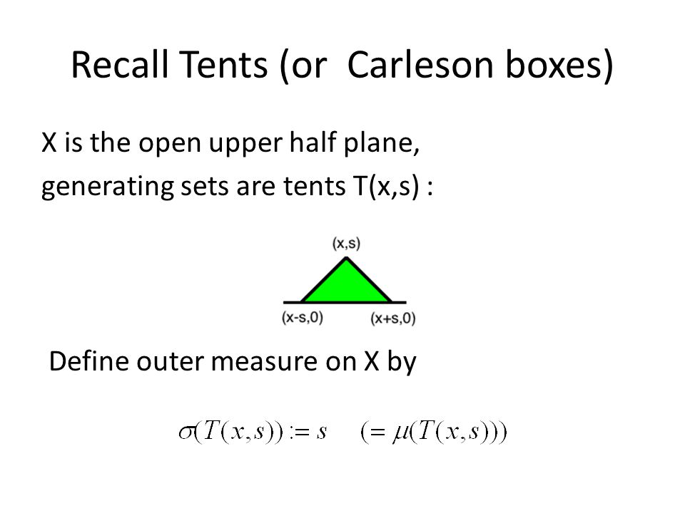Recall Tents (or Carleson boxes) X is the open upper half plane, generating sets are tents T(x,s) : Define outer measure on X by
