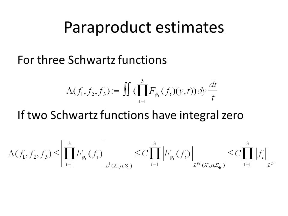 Paraproduct estimates For three Schwartz functions If two Schwartz functions have integral zero