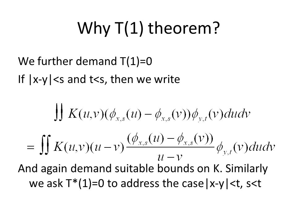 Why T(1) theorem.