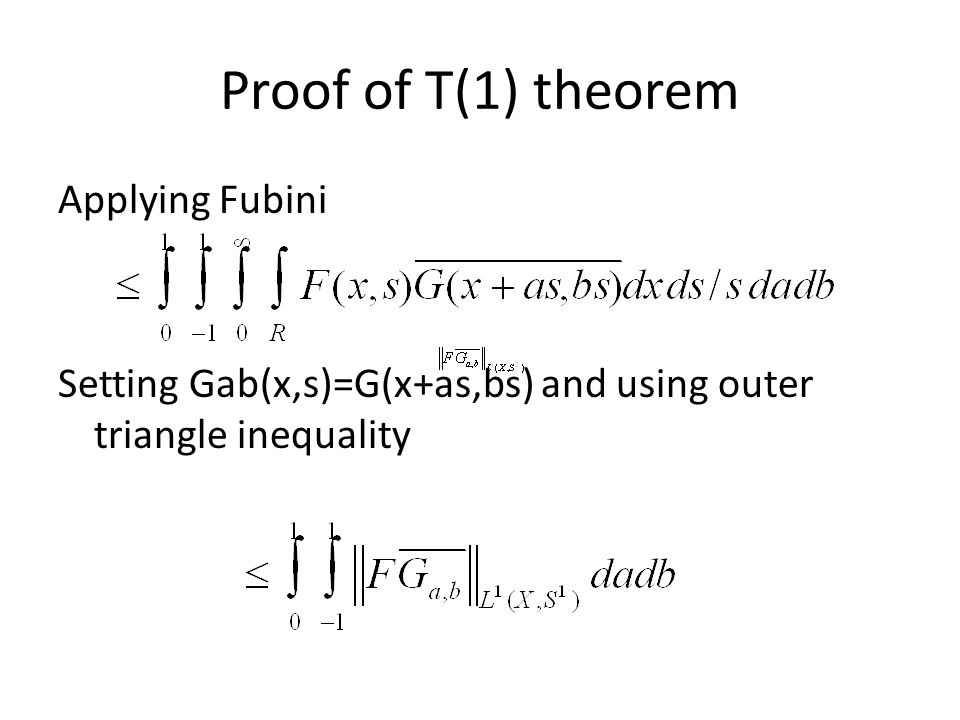 Proof of T(1) theorem Applying Fubini Setting Gab(x,s)=G(x+as,bs) and using outer triangle inequality