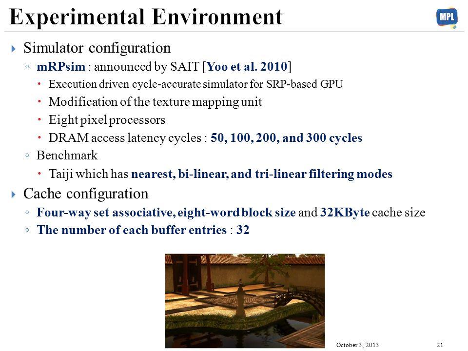  Simulator configuration ◦ mRPsim : announced by SAIT [Yoo et al.