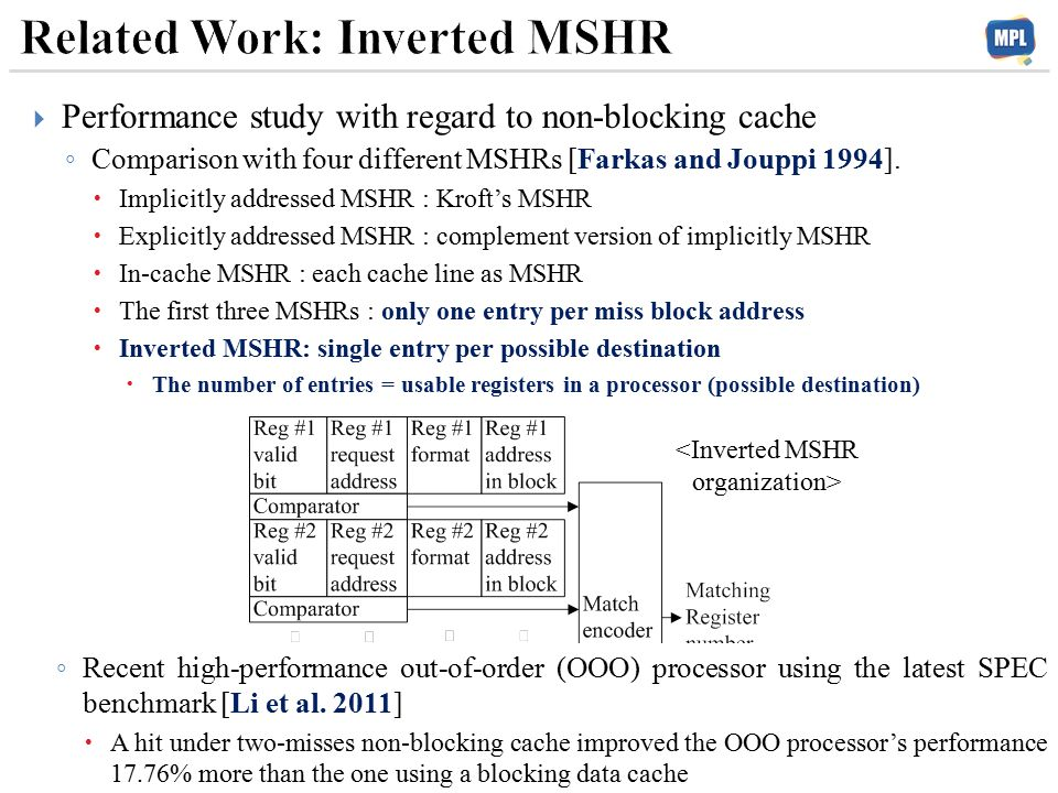  Performance study with regard to non-blocking cache ◦ Comparison with four different MSHRs [Farkas and Jouppi 1994].