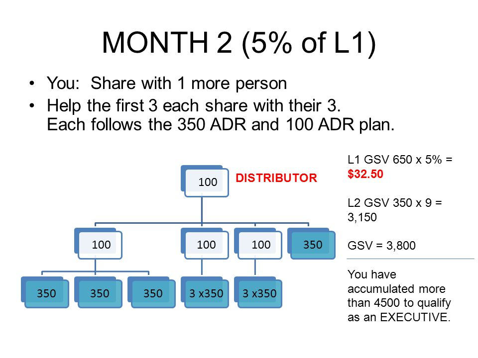 MONTH 2 (5% of L1) You: Share with 1 more person Help the first 3 each share with their 3. Each follows the 350 ADR and 100 ADR plan. 100 350 1003 x35