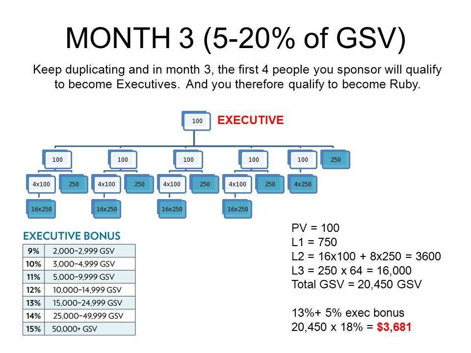 MONTH 3 (5-20% of GSV) Keep duplicating and in month 3, the first 4 people you sponsor will qualify to become Executives. And you therefore qualify to
