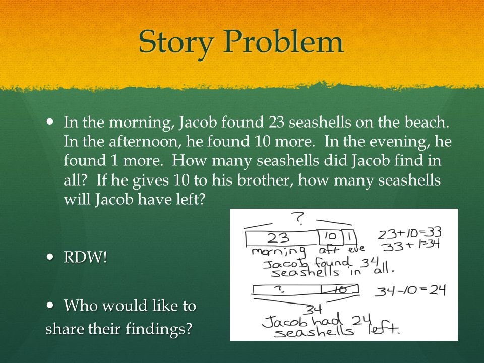 Story Problem In the morning, Jacob found 23 seashells on the beach. In the afternoon, he found 10 more. In the evening, he found 1 more. How many sea