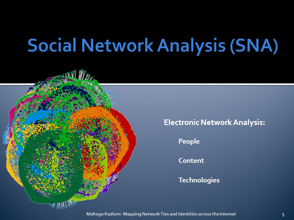 Electronic Network Analysis: People Content Technologies Maltego Radium: Mapping Network Ties and Identities across the Internet5