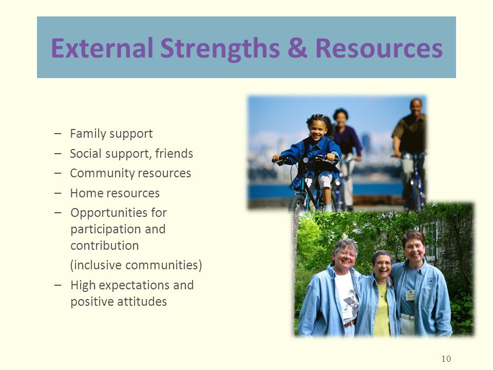 External Strengths & Resources – Family support – Social support, friends – Community resources – Home resources –Opportunities for participation and