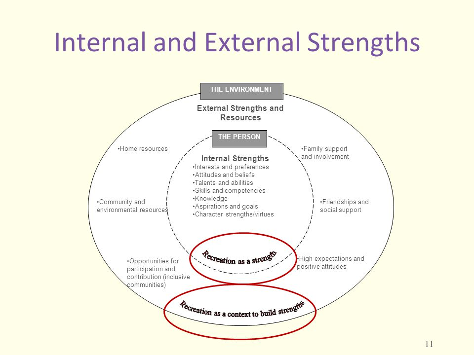 Internal and External Strengths Internal Strengths Interests and preferences Attitudes and beliefs Talents and abilities Skills and competencies Knowl