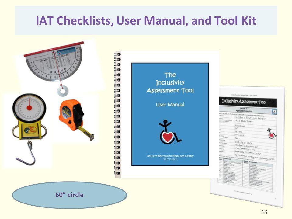 "IAT Checklists, User Manual, and Tool Kit 60"" circle 36"