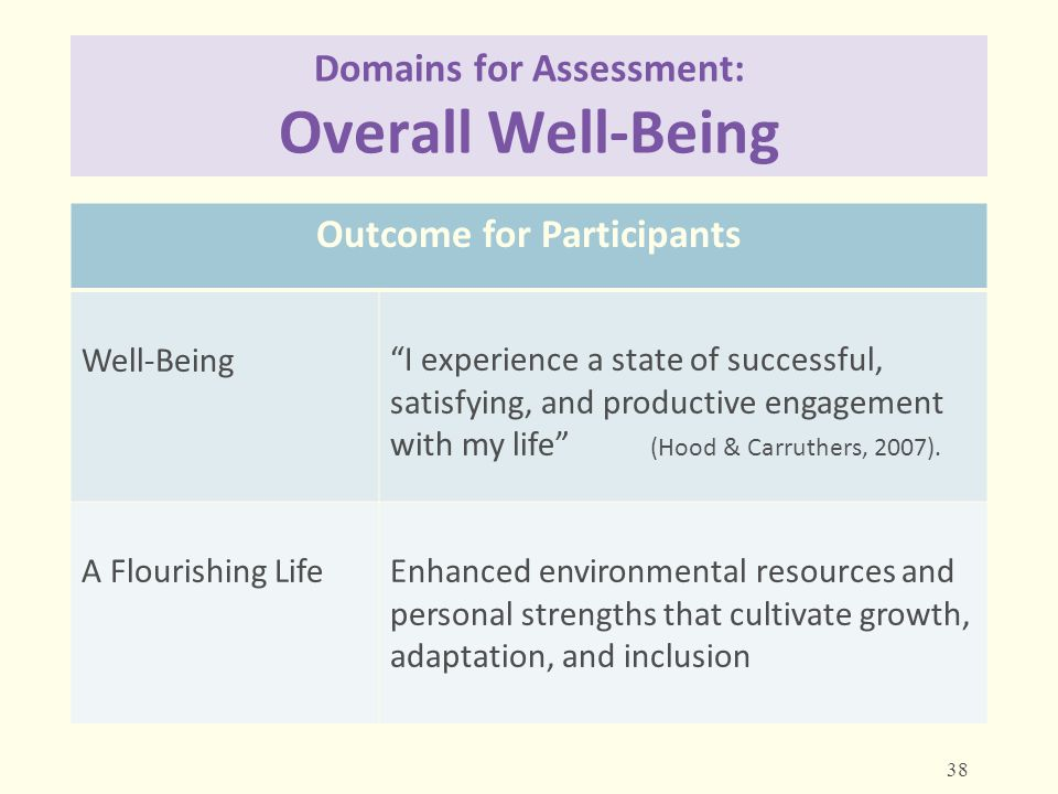 """Domains for Assessment: Overall Well-Being Outcome for Participants Well-Being""""I experience a state of successful, satisfying, and productive engageme"""
