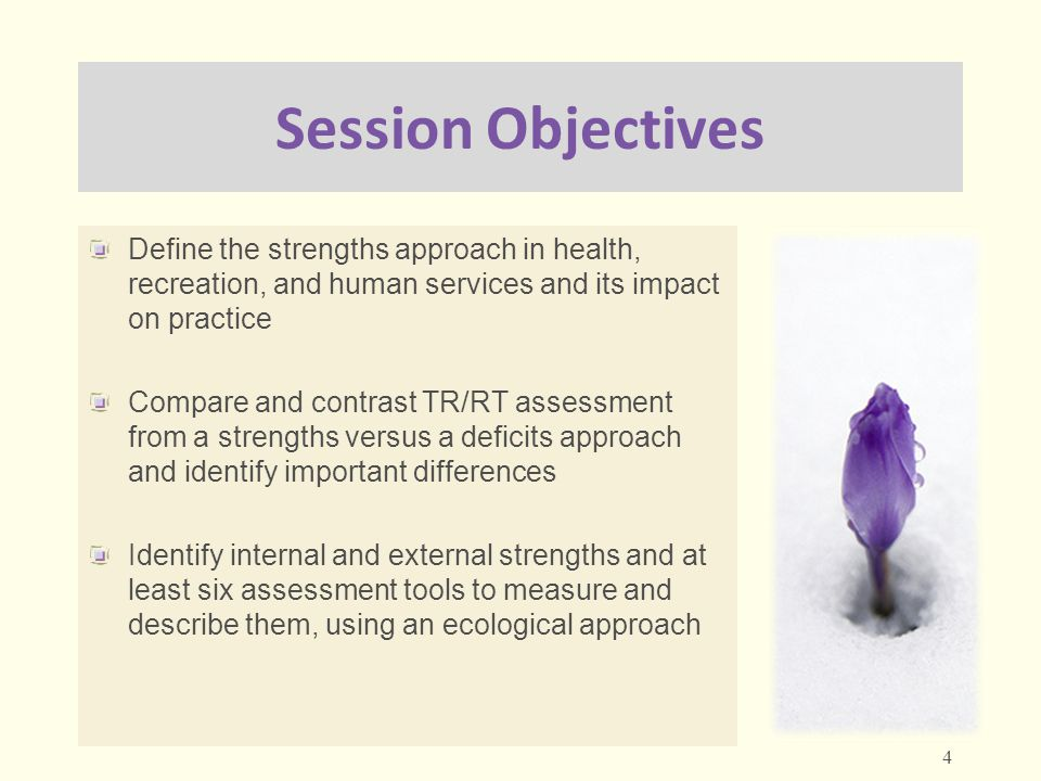 Session Objectives Define the strengths approach in health, recreation, and human services and its impact on practice Compare and contrast TR/RT asses