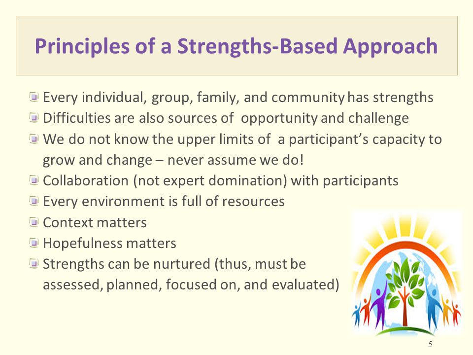 Principles of a Strengths-Based Approach Every individual, group, family, and community has strengths Difficulties are also sources of opportunity and