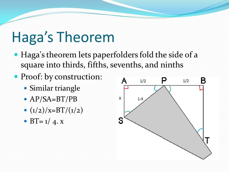 Haga's Theorem Haga s theorem lets paperfolders fold the side of a square into thirds, fifths, sevenths, and ninths Proof: by construction: Similar triangle AP/SA=BT/PB (1/2)/x=BT/(1/2) BT= 1/ 4.
