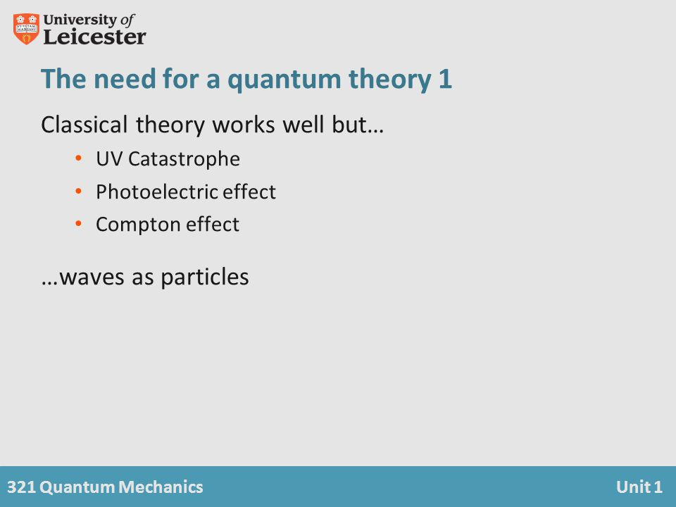 321 Quantum MechanicsUnit 1 The need for a quantum theory 1 Classical theory works well but… UV Catastrophe Photoelectric effect Compton effect …waves as particles