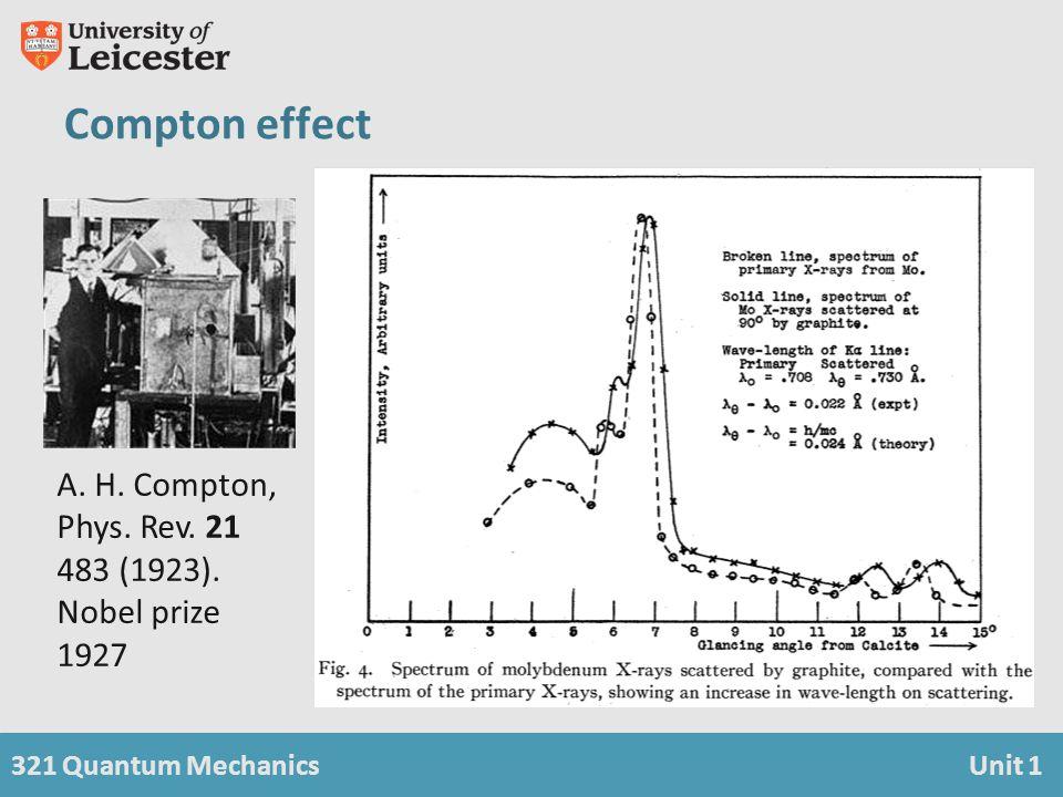 321 Quantum MechanicsUnit 1 A. H. Compton, Phys. Rev. 21 483 (1923). Nobel prize 1927 Compton effect