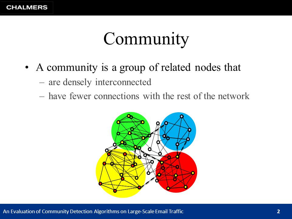 An Evaluation of Community Detection Algorithms on Large-Scale Email Traffic 2 A community is a group of related nodes that –are densely interconnected –have fewer connections with the rest of the network Community